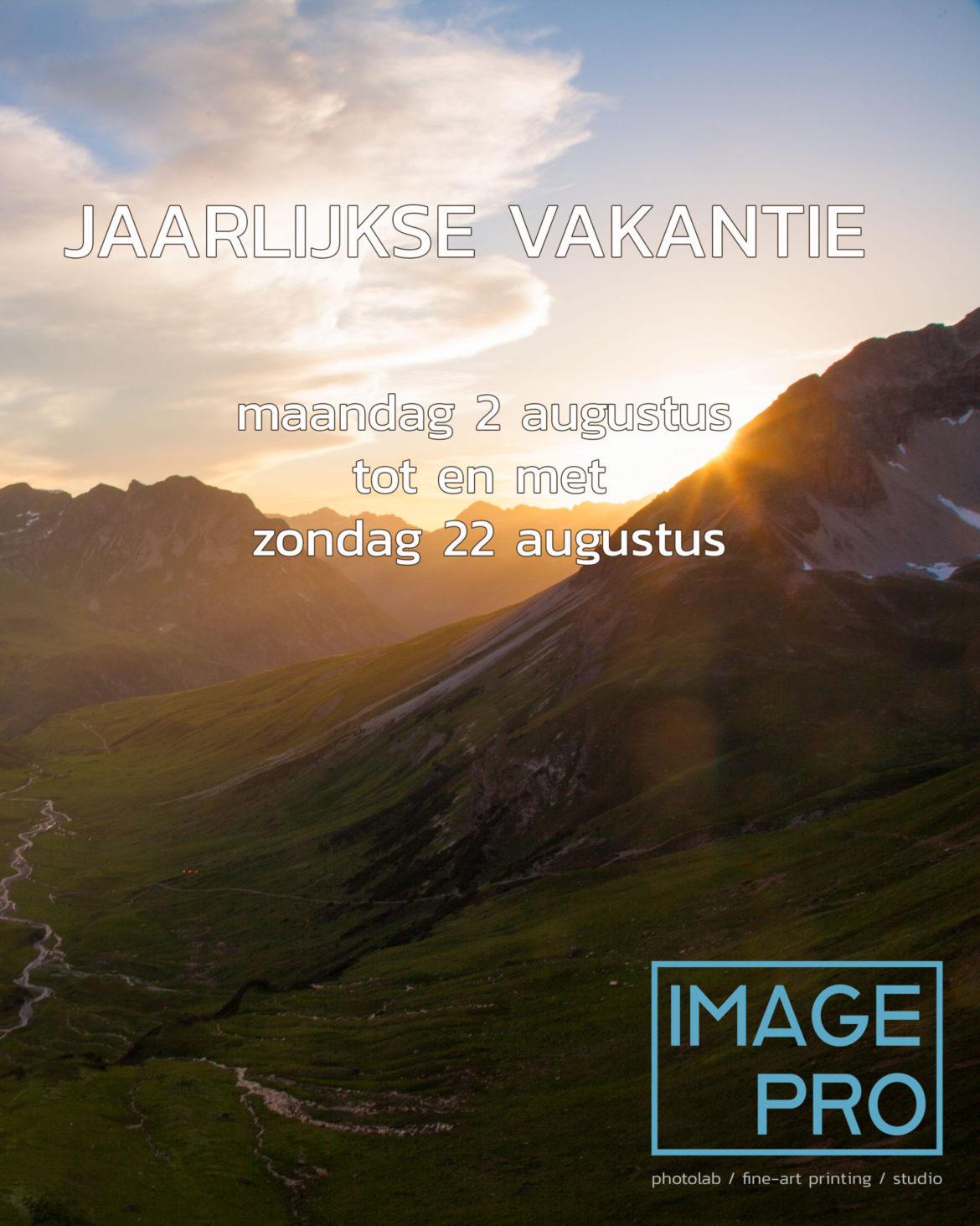 Jaarlijkse vakantie 2021 – 2 aug. t/m 22 aug.
